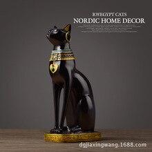 Egypt black cat figurines Lucky decoration  home accessories Antique miniature rustic decor