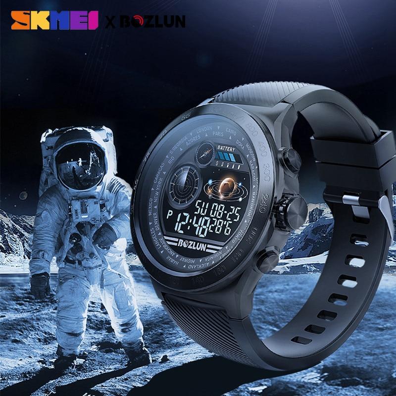 Skmei display led homem relógio digital calorias monitor de freqüência cardíaca passos esporte relógios montre homme relogio masculino w31 relógio - 5