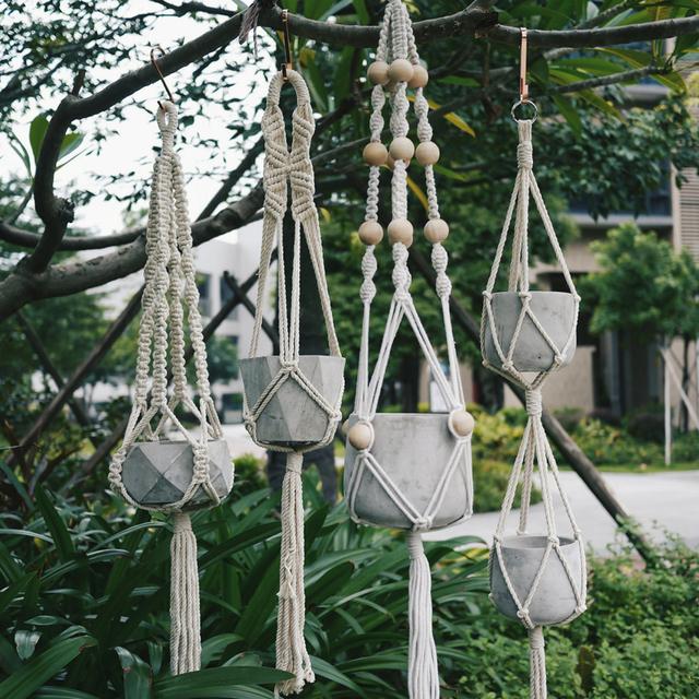WCIC 90cm Knotted Macrame Plant Hanger Vintage Cotton Linen Flowerpot Basket Lifting Rope Pot Holder Garden Tools Hanging Basket