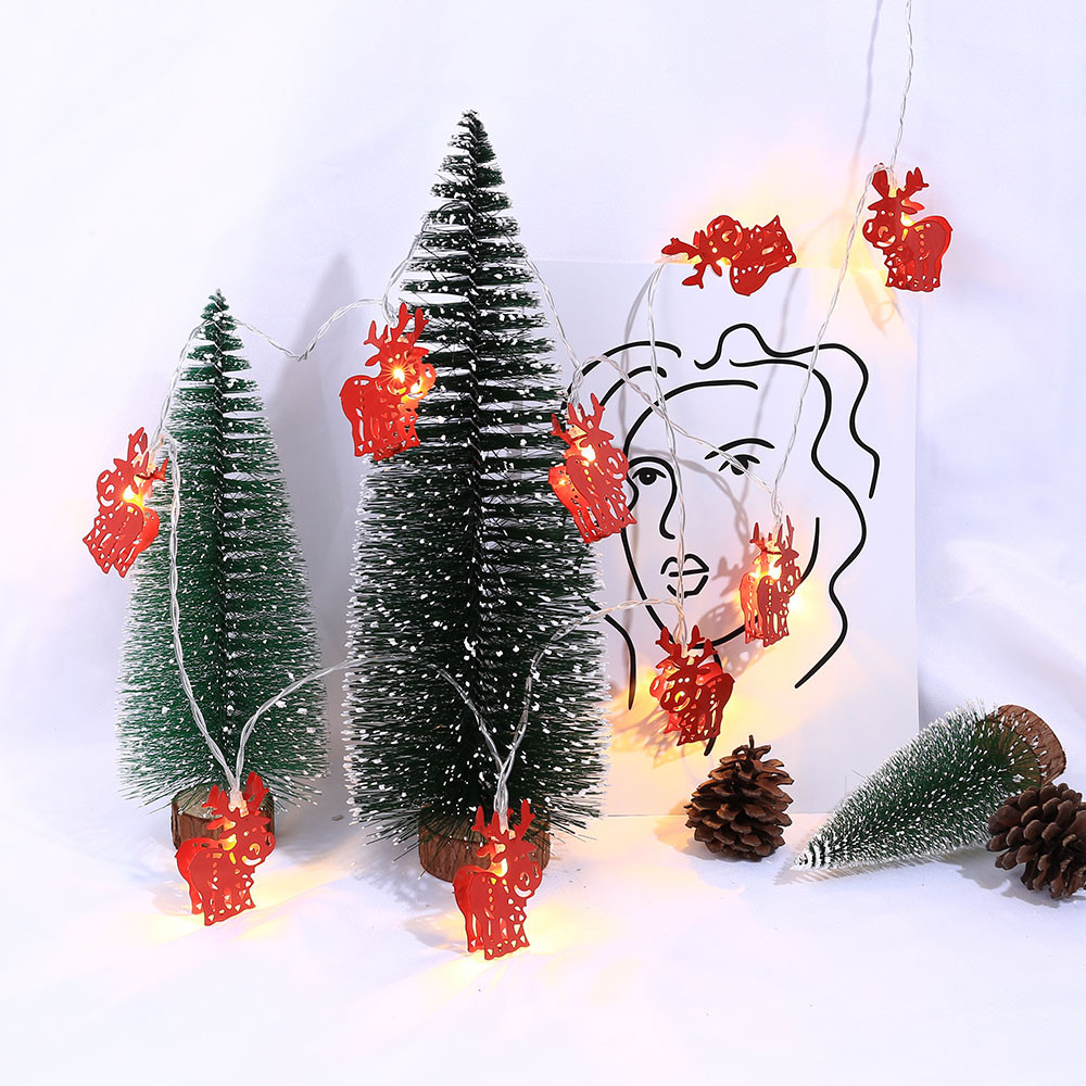 Christmas Decorations For Home Iron Deer Battery 2M String