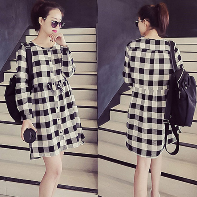 a3410d78052 Grid long sleeve Maternity dresses casual Pregnancy clothes for Pregnant  Women Autumn and Winter loose Clothing Free shipping