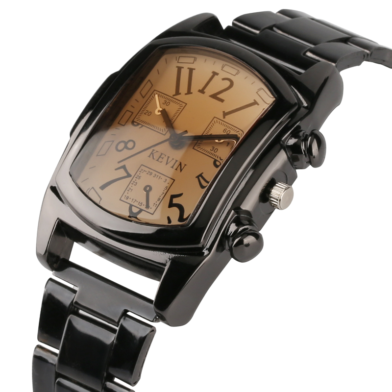 KEVIN Classic Black Stainless Steel Band Man Watch Rectangle Shape Dial Business Mens Wrist Watches Creative Male Clock Gifts