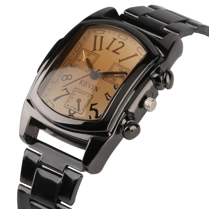 Классические мужские часы KEVIN, черные часы из нержавеющей стали с прямоугольным циферблатом, деловые мужские наручные часы, творческие мужские часы в подарок|Кварцевые часы|   | АлиЭкспресс