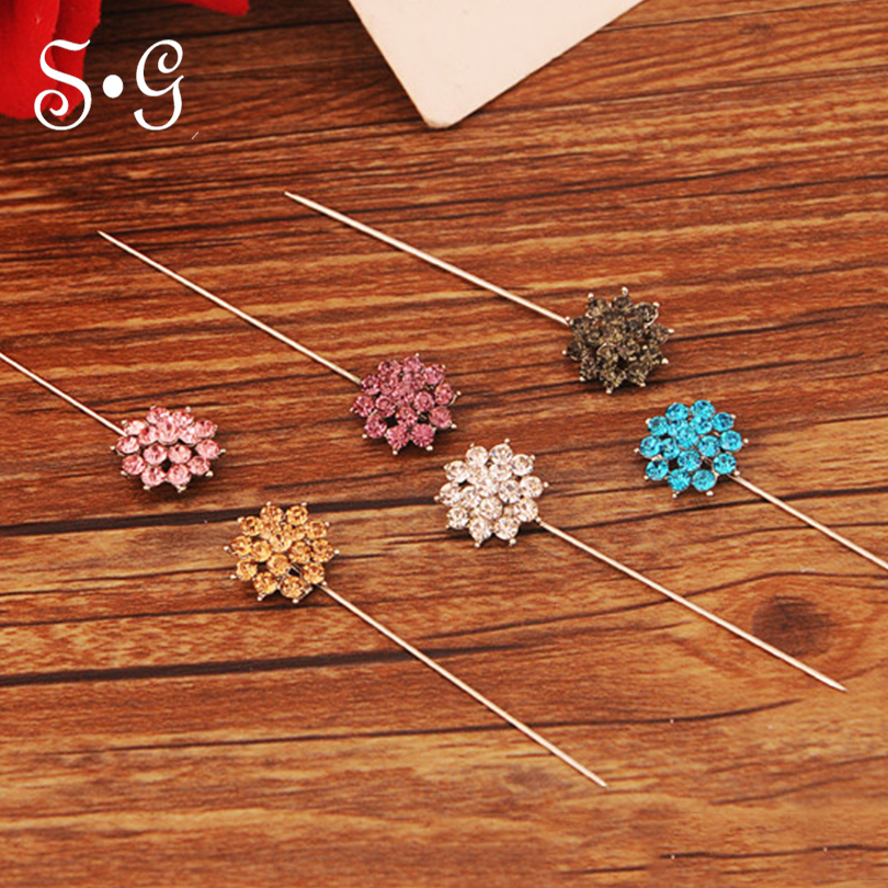 6pairs/pack flower shape Pin Women Safety Scarf free Pin cover New Hijab Pins Rhinestone Wholesale Muslim Hijab Brooch