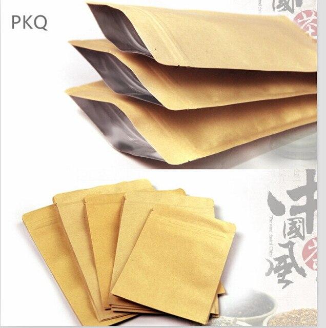 100 pcs Papel Kraft Doypack Zip Lock Saco com Folha De Alumínio Chá Comida Lanche de Café Armazenamento Resealable Ziplock/zipper saco