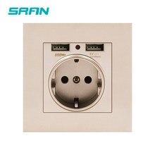 Enchufe de pared de la Unión Europea SRAN, enchufe con Panel de PC ignífugo oro USB 86mm * 86mm 16A Enchufe europeo 5V 2.1A interfaz móvil USB