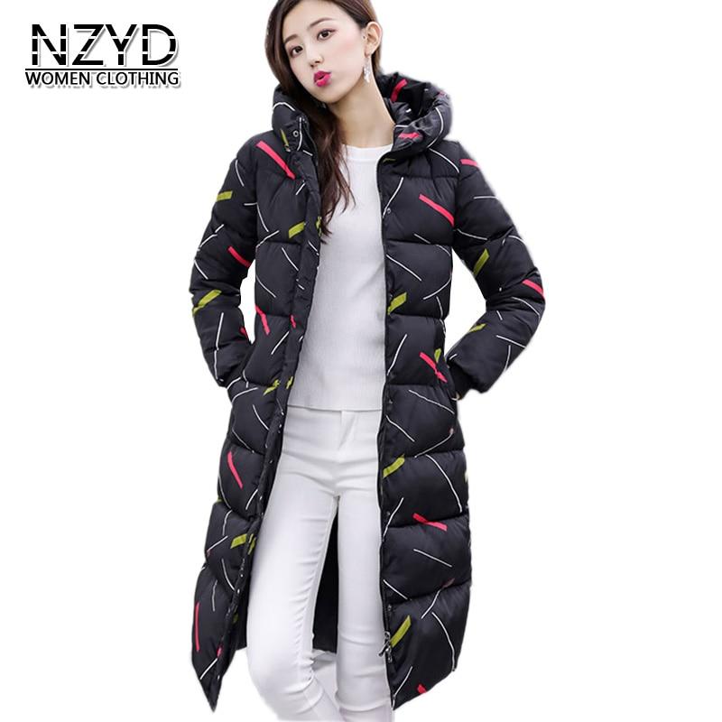 Hiver Nouveau long Veste En Grande Mi Coton Style Femmes Lâche Casual Chaud Manteau Mode white Impression 2018 Nzyd513 De Black Épais Taille 4qxn8dFwdX