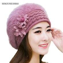 HANGYUNXUANHAO Female Elegance Rabbit Fur Knitted Berets Fashion Flower Winter Women Hat Thick Warm Knit Ladies Cap