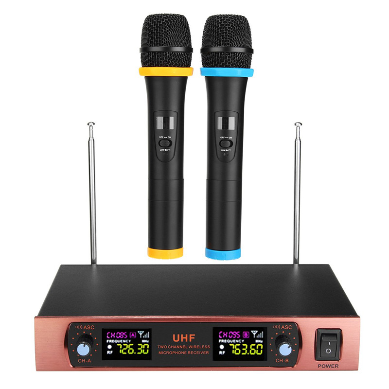 все цены на UHF Long Range Dual Channel 2 Handheld Mic Karaoke Wireless Mic Transmitter Microphone System With Receiver For Family DIY KTV онлайн