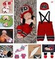 Розничная крючком вязание пожарный дизайн новорожденный реквизит вязаные баскетбол футбол детские спортивные костюм HK032