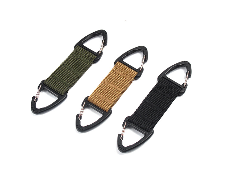 Outdoor Tactical Nylon Webbing Backpack Suspender Double Point Triangle Clips Multifunctional Climbing Clips Two Way Swift