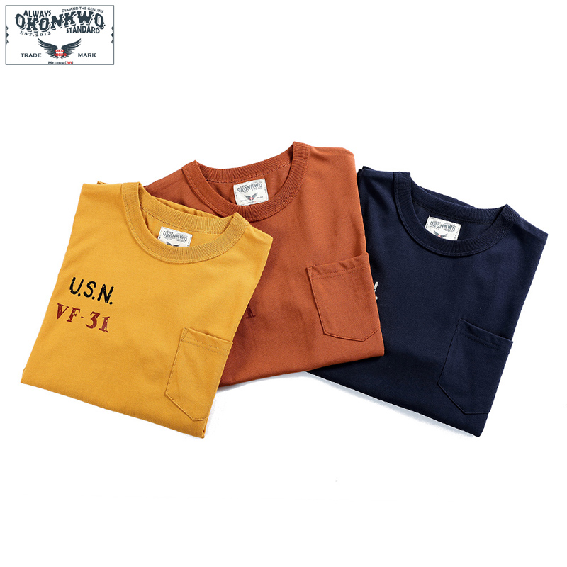 Summer USN Printed Tshirt With Pocket Men Mens Cotton Tee Cotton Fashion T Shirt Simple T-shirt For Men Brand Clothes 2019