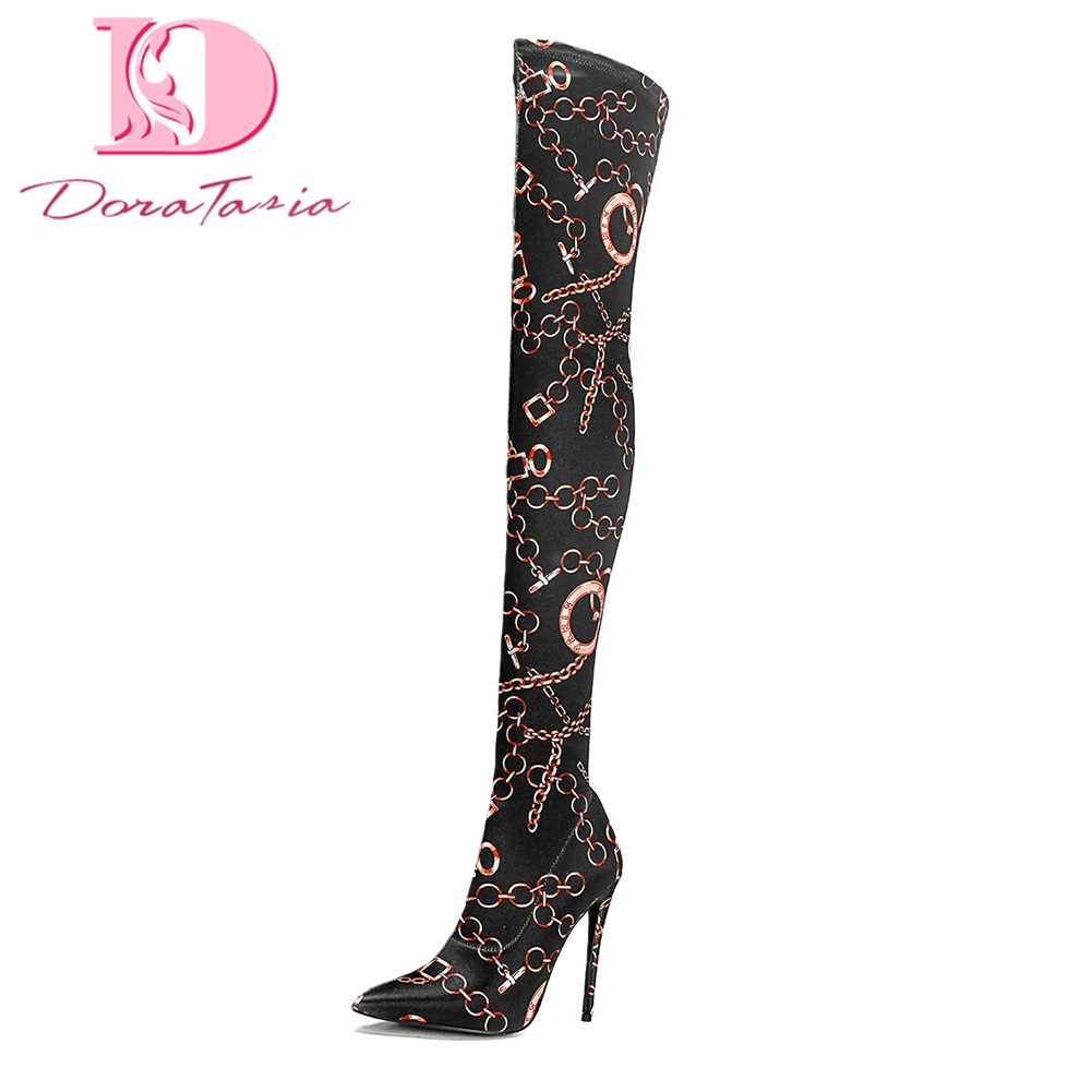 DoraTasia Brand best Quality Plus Size 33-43 High Heels women Over The Knee Boots Woman Shoes Slip On party Boots Shoes Woman memunia big size 34 43 over the knee boots for women fashion shoes woman party pu platform boots zip high heels boots female