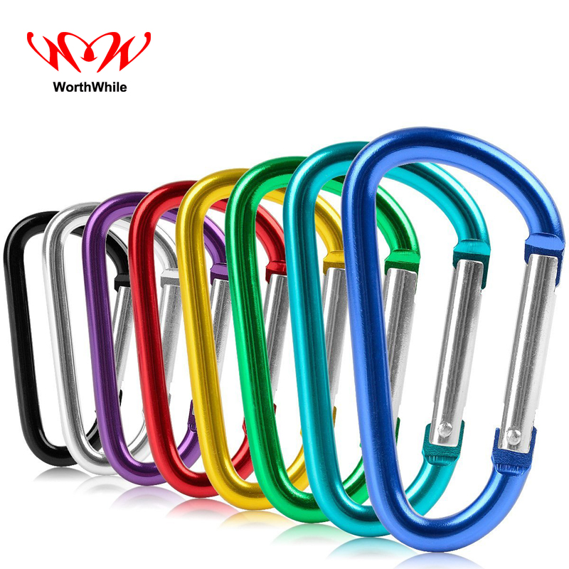 WorthWhile 6 Pcs/lot Aluminum D Shape Buckle Carabiner Survial Key Chain Hook Clip Outdoor Camping Equipment EDC