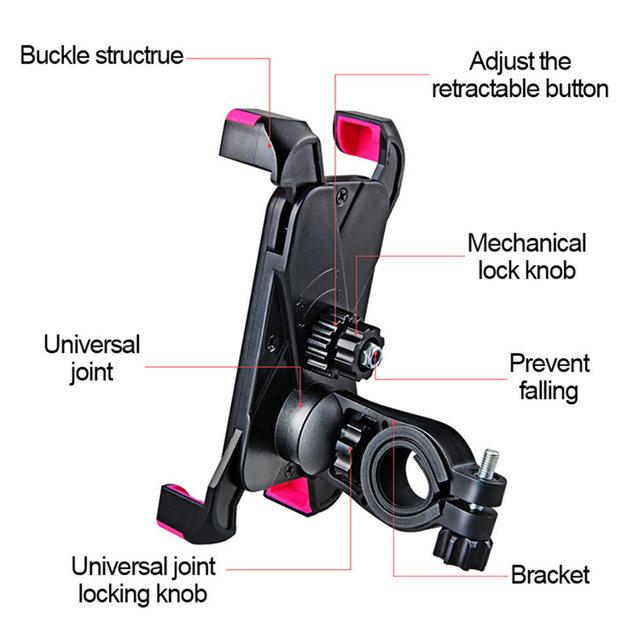 Adjustable Bicycle Phone Holder PVC Bike Handlebar Clip Stand Mount Bracket Holder For iPhone Samsung Universal Mobile Cellphone