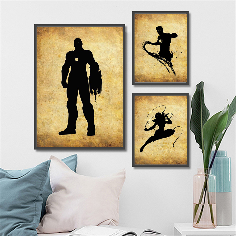 Wall Art Retro Watercolor Marvel Superhero Character Batman Canvas ...