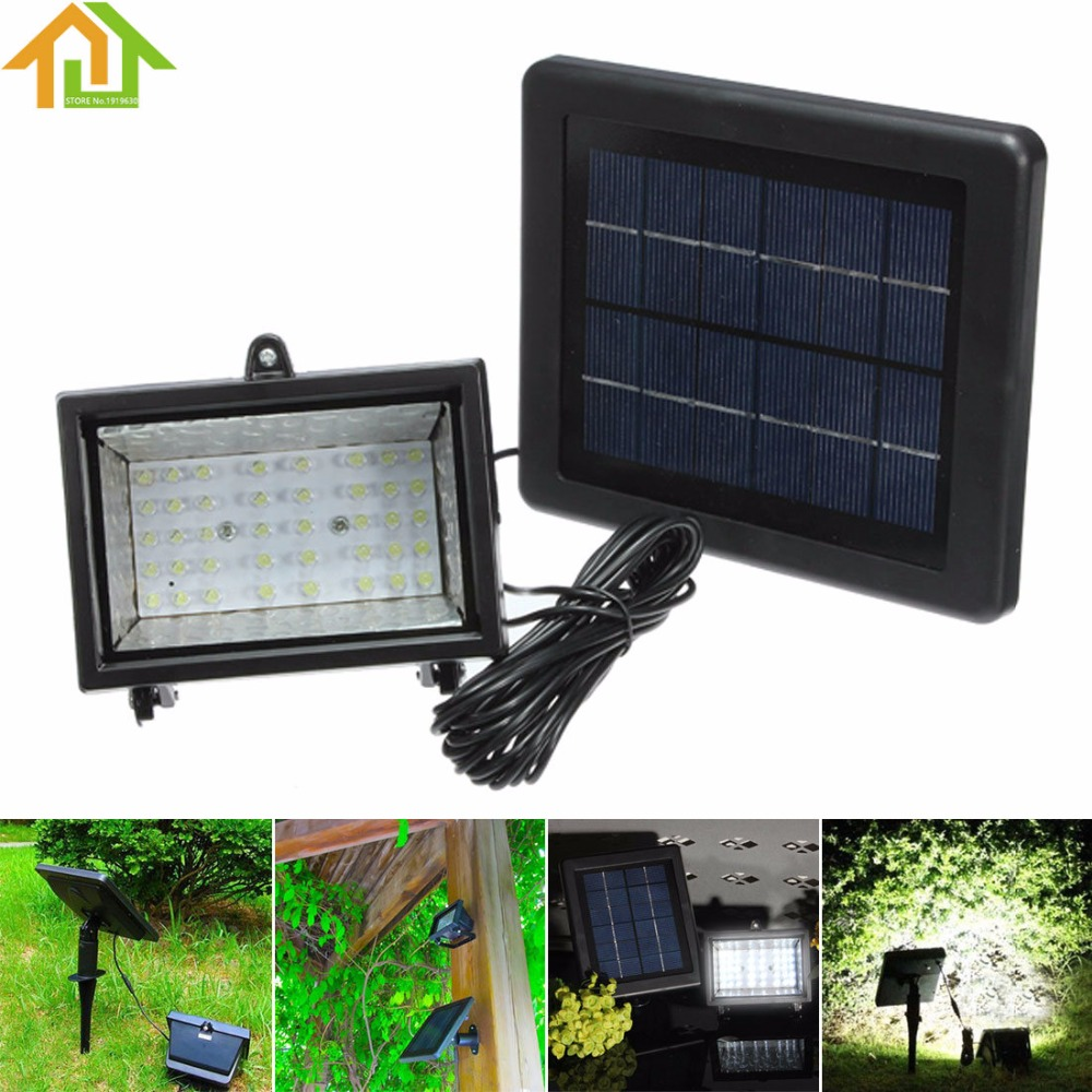 ФОТО Solar Power 40 LED Path Spot Wall Mount Outdoor Lawn Light