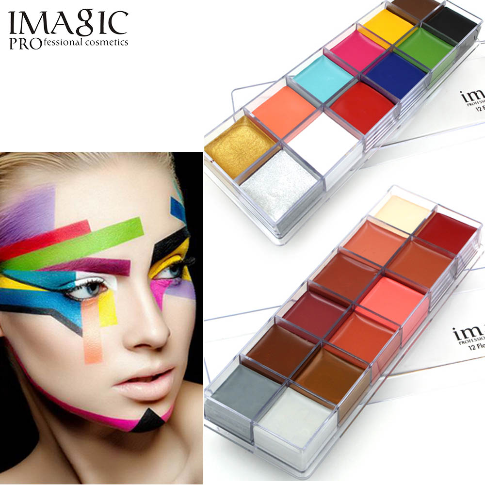 IMAGIC 12 Colors Body Face Oil Paints Professional DIY Painting Oil Art Make Up Use In Face Or Body Makeup Face Paint Palette цена