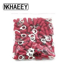 100pcs/Pack  RV1.25-5 Crimp Terminal Combination Red Cable Wire Connector Ring Insulated Terminal Block A.W.G #10 цена