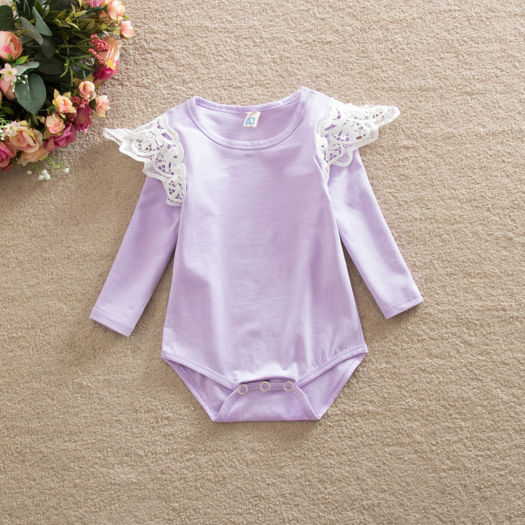 8297ecdcecad 0-2 years baby girls romper lace flutter wing long sleeve romper for kids  cotton crotch with button striped toddler jumpsuit