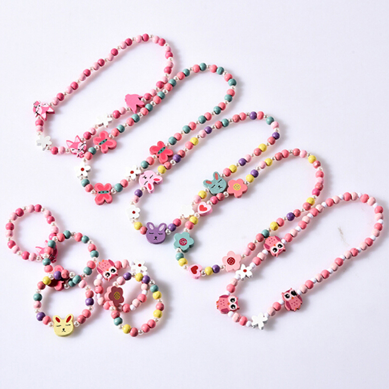 Hot Sale Cute Cartoon Wood Beads  Cartoon Necklace Flower Sweater Chain Girl's Gifts Children Jewelry