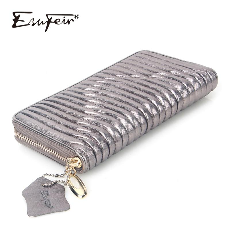ESUFEIR Genuine Leather Women Wallet High Quality Sheepskin Standard Wallet Long Clutch Fashion Multiple Cards Holder Wallet Bag