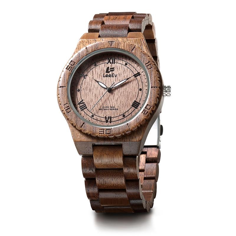 LeeEv EV1908 Mens Natural Walnut Wood Watch Analog Quartz Light Weight Vintage Wooden Wrist Watch leeev ev1908 mens natural walnut wood watch analog quartz light weight vintage wooden wrist watch