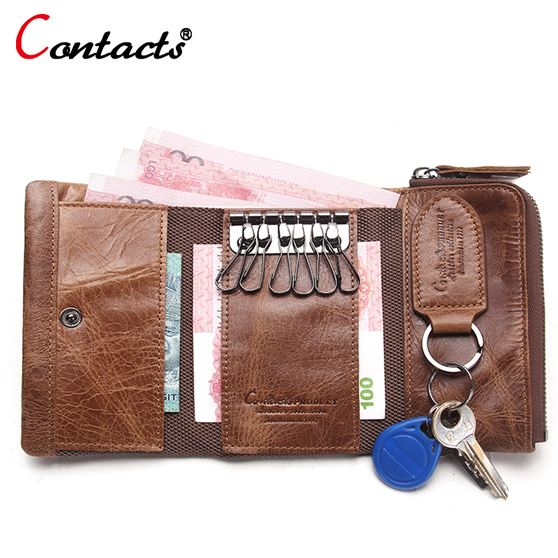 CONTACT'S Men Wallet Genuine Leather Key Case Key Holder Wallet Coin Purse Housekeeper Car Key Organizer Small wallet clutch Bag