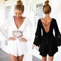 Calções Mulheres Macacão Com Decote Em V Sexy Lace 2016 Nova patchwork Oco out Cintura Rompers Backless Rompers Mulheres Jumpsuit