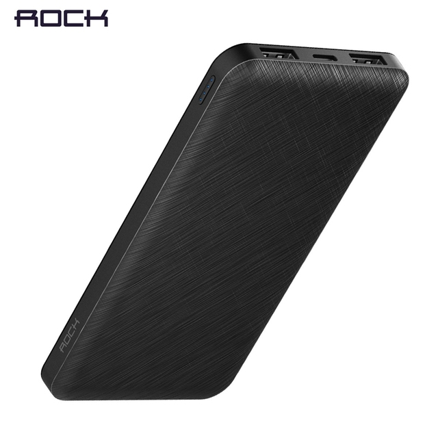 Slim 10000 mAh Power Bank,ROCK Portable Powerbank battery power-bank 10000mah With LED Light for Mobile Phone for Ultra-thin