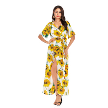 VZFF Women's Dress 2019 Spring And Summer New Yellow Or White Sexy V-Neck Long Dress Floral Hem Belted  A Line Beach Dress