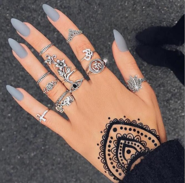 HuaTang Bohemian Antique Silver Ring Geometric Elephant Flower Green Rhinestone Knuckle Rings Midi Finger Anel Rings Jewelry 100