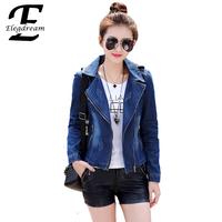 Fashion Women Denim Jackets 2016 Spring Autumn New Arrival Fashion Ladies Zipper Jeans Parkas Denim Coat
