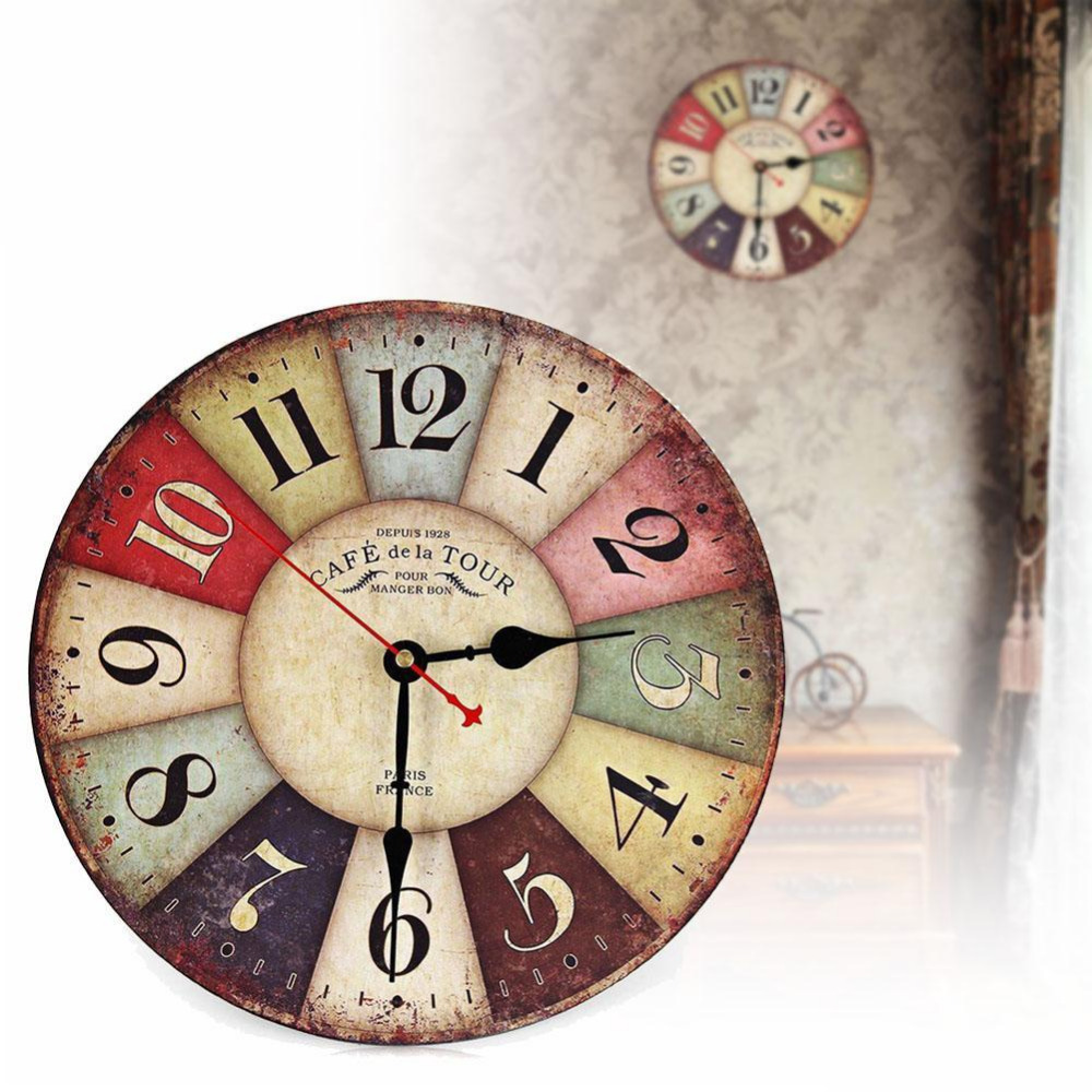 Vintage Home Antique Decor Kitchen Wall Clocks Decoration Wooden Clock Shabby Chic Rustic Retro