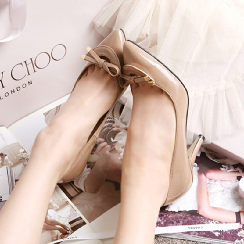 ФОТО Bow high thin heels pointed toe women's shoes small yards 31 32 33 plus size 40 41 42 43 shoes free shipping