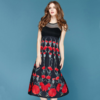 2015 High Quality Fashion Ladies Elegant Sleeveless Hollow Out Mesh Mid Calf Chrysanthemum Printed Dresses