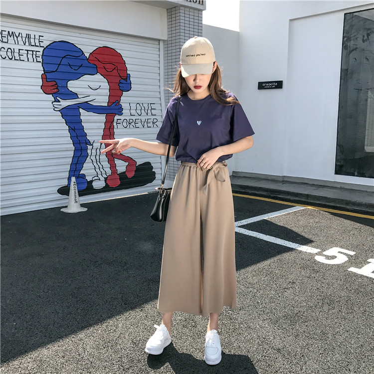 19 Women Casual Loose Wide Leg Pant Womens Elegant Fashion Preppy Style Trousers Female Pure Color Females New Palazzo Pants 4