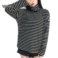 New 2017 Classic Loose Turtleneck Long Sleeved Striped T Shirt Loose Women Black White Casual T
