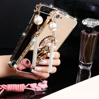 2017 New Luxury Girl Woman Lady Metal Aluminium Diamond Mirror Phone Cover Case For iPhone 5 5S 6 6S 7 8 Plus X with Ring Strap