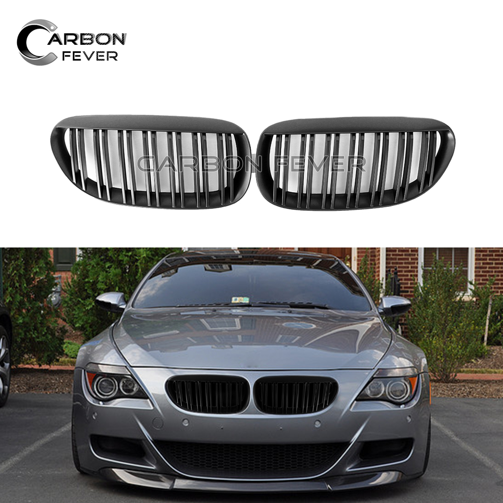 For BMW E63 E64 Front Bumper Kidney Grille 6 Series Coupe Convertible 2004   2010 630i 650i 2 Slat Kidney Grill-in Racing Grills from Automobiles & Motorcycles    1
