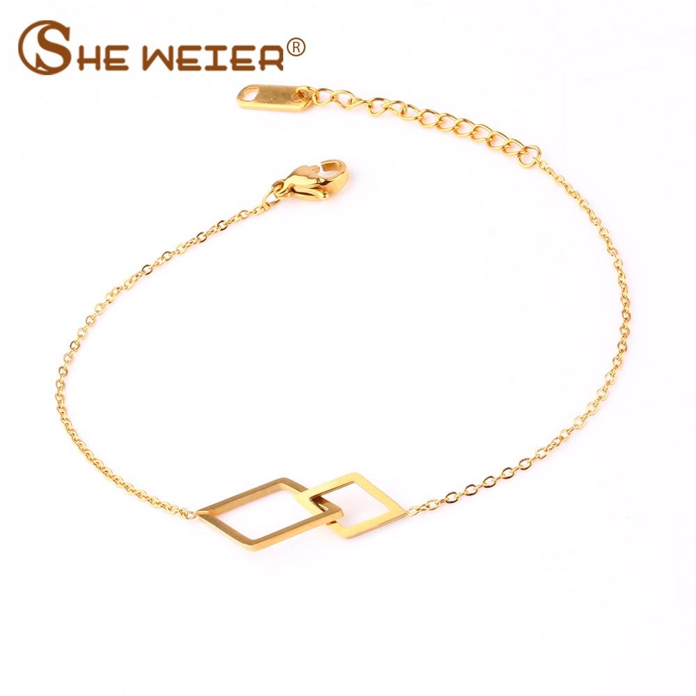 SHE WEIER jewelry chain bracelet femme stainless steel bracelet women bizuteria braslet friendship bracelet and bangles charms