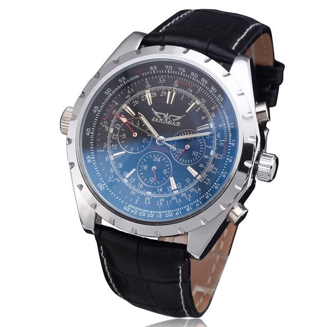 Luxury Brand WINNER Men Casual Automatic Mechanical Wrist Watch Leather Strap Multifunction Tachometer Relogio Masculino