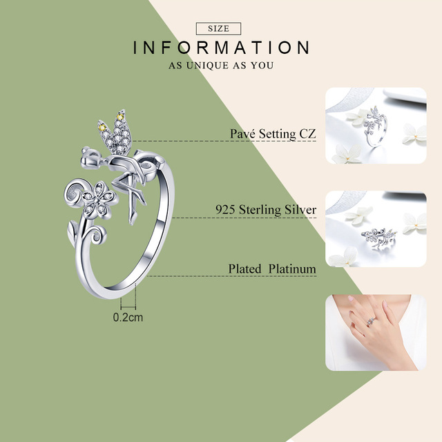 BAMOER GAR025 Silver Ring Fairy Wings Flowers Plant Ajustable Rings for Women 925 Sterling Silver Jewelry Girl Jewelry Gifts 4