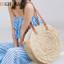 2018 New Natural hand-woven big straw bag round popularity straw Women Shoulder Bag beach holiday bag Ladies Tote large handbag