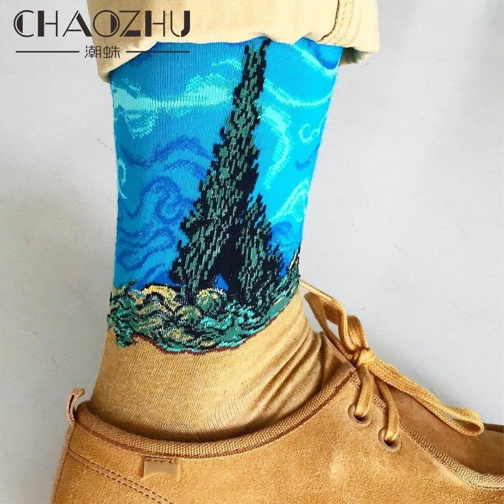 CHAOZHU New Van Gogh Art Creative Painting Oil Vintage Men's Crew Happy Socks Men Calcetines Hombre Sokken Aesthetic 90s 80s Sox