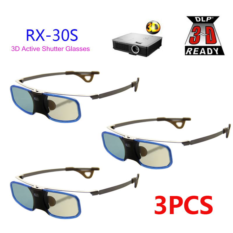 3pcs x 3D DLP LINK Active Shutter 3D Glasses 96 144Hz with Clip for Myope For