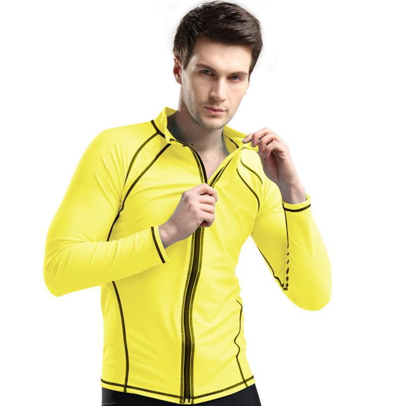 ffad8a4464652 Free Shipping 1 Pic Gold Jellyfish Diving Suit For Men Plus Size XXL 3XL  4XL UV Long Sleeves Snorkeling Surfing Swimsuit