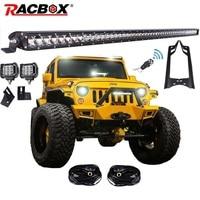 RACBOX 51 inch 250W LED Light Bar 4 inch LED Work Light A Pillar Steel Windshield Mount Brackets For Jeep Wrangler JK Kit 07 15