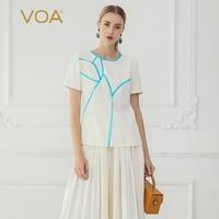 VOA шелк футболка белый Для женщин топы Повседневное Футболка Большой Размеры летние шорты рукавами, Harajuku печати camiseta B762