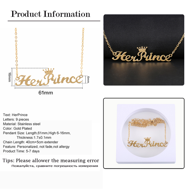 HerPrincess Pendants & Necklaces   HisQueen Nameplate Necklace  For Gift Stainless Steel Personalized Jewelry Etsy Dropshipping